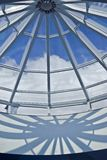 Glass roof. Transparent glass roof and blue sky royalty free stock photo
