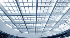 Glass roof. Modern glass roof inside office center Royalty Free Stock Photos