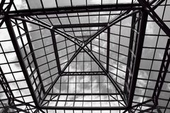 Glass roof. Black and white image of the glass roof of a mall Stock Image