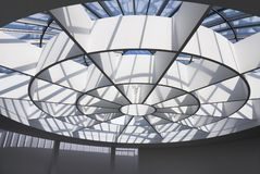 Glass roof. Modern architecture. Fragment of the glass roof Royalty Free Stock Photo