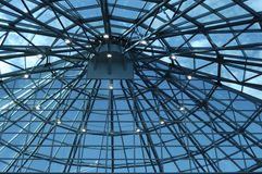 Glass roof. Glass roof of office building with dark blue filters Stock Images