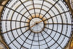 Glass roof. Of the shopping center Galleria Vittorio Emmanuele II in Milan, Italy Royalty Free Stock Images