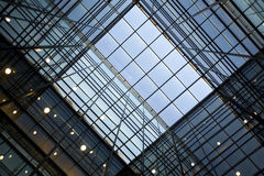Glass roof. Geometric glass roof in modern building stock image