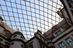 Glass roof above the courtyard of Gruenes Gewoelbe in Dresden, Germany. Glass roof above the courtyard of the museum Gruenes Gewoelbe in Dresden, Germany Royalty Free Stock Image