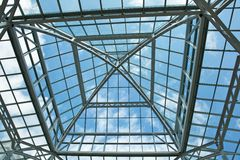 Glass roof blue sky Stock Photography