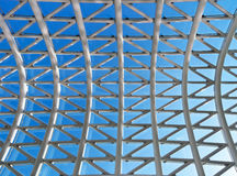 Glass roof with blue sky background Royalty Free Stock Images