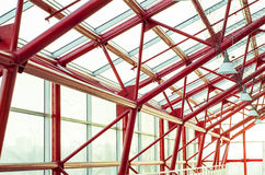 The glass roof of the building with metal structures Royalty Free Stock Images