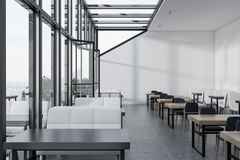 White wall glass roof cafe interior Royalty Free Stock Photos