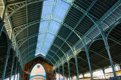 Glass roof construction of historic market Colon in Valencia, Spain Stock Photos