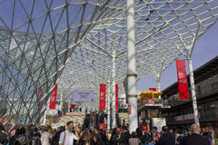Glass roof of Fiera Milano, during Salone del Mobile fair Stock Photos