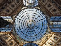 Glass roof of Galleria Vittorio Emanuele II arcade in Milan Royalty Free Stock Image