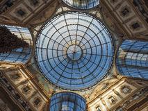 Glass roof of Galleria Vittorio Emanuele II arcade in Milan. MILAN, ITALY - CIRCA JANUARY 2017: Glass dome roof of Galleria Vittorio Emanuele II shopping arcade Stock Images