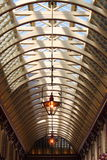 Glass roof of a gallery. Architectural structure of a gallery glass roof Stock Images