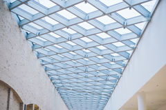 Glass roof of the mall. Inside view Stock Image
