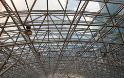 Glass roof with metal structure Royalty Free Stock Photos