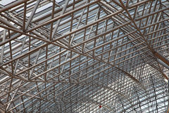 Glass roof with metal structure Stock Photos