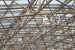 Glass roof with metal structure in perspective Royalty Free Stock Photography