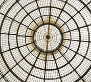 Glass Roof Milan. Detail interior view of a Glass Roof of a building in Milan, Italy stock image