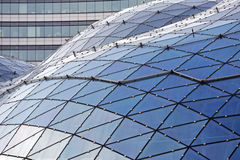 The glass roof of a modern shopping mall in Warsaw. Warsaw, Poland - February 28, 2016: The glass roof of a modern shopping mall called Golden Tarraces (Zlote Stock Images