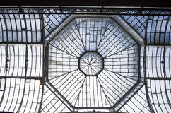 The glass roof with octagon metal structure frame Manchester. Royalty Free Stock Photography