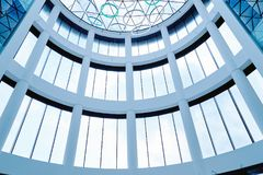 A glass roof and part of the interior. Rostov, Russia - March 22, 2018: A glass roof and part of the interior in the Mega Mage trade center in Rostov Royalty Free Stock Photos