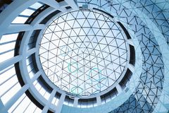 A glass roof and part of the interior. Rostov, Russia - March 22, 2018: A glass roof and part of the interior in the Mega Mage trade center in Rostov Stock Photography