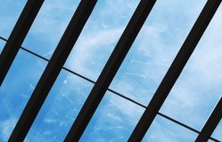 Glass roof reflecting water. Roof of glass house reflecting water Royalty Free Stock Image