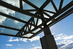 The glass roof of the station in the sunlight Stock Photos