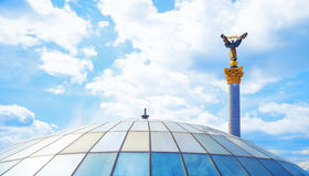 Glass roof and a statue of independence maidan in Stock Image
