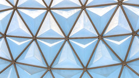 Glass roof with steel. Geometric pattern of glass roof dome with steel Stock Image