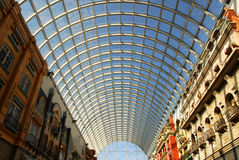 Glass roof structure. In west edmonton mall ( the largest indoor shopping mall in north america), edmonton, alberta, canada Royalty Free Stock Images
