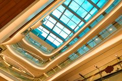 Glass roof  structure of modern commercial building. Modern business architecture with  steel construction and glass roof structure stock photography