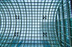 Glass roof structure space fram of modern building hall Royalty Free Stock Photo