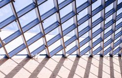 Glass roof of the window, on the blue sky stock photography