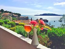 Glass of Rose Champagne & Flowers, Pršno, Montenegro Stock Images