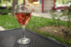 A glass of rose wine. Royalty Free Stock Photography