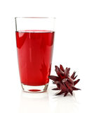 Glass of roselle juice on white Stock Images
