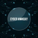Glass round banner. High-tech background from a computer circuit board for a cyber sale Monday. Luminous blue banner. Great sale. Glowing neon blue connectors Royalty Free Stock Photography