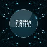Glass round banner. High-tech background from a computer circuit board for a cyber sale Monday. Luminous blue banner. Great sale. Glowing neon blue connectors Royalty Free Stock Images