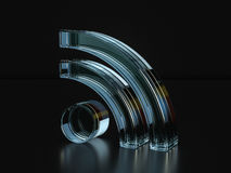 Glass RSS symbol  3D illustration Royalty Free Stock Photo