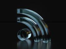 Glass RSS symbol  3D illustration Royalty Free Stock Photo