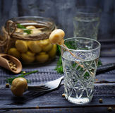 Glass of Russian vodka and pickled mushrooms Royalty Free Stock Photography