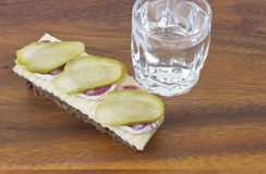 Glass of Russian vodka with snack Royalty Free Stock Images