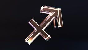 Glass Sagittarius Zodiac sign, 3D rendering. Glass Zodiac sign, part of the set. 3D stock illustration