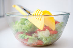 Glass salad dish with tong Royalty Free Stock Photos