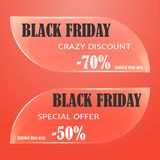 Glass sale tag, badges, labels or banner for Black Friday on red background. Vector illustration for Holiday Collection. Stock Photography