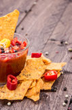 Glass with Salsa Sauce and Nachos Royalty Free Stock Photo