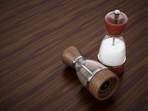 Glass salt and pepper grinder set standing on wooden table. 3D illustration.  vector illustration