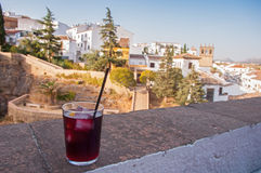 Glass of sangria in ronda Spain Royalty Free Stock Photo