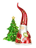 Glass Santa candelstick with christmas tree. Stock Image